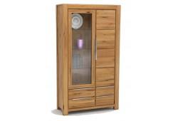 Pełny Lity Dąb - Witryna 4 szuflady i 2 drzwi