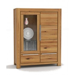 Pełny Lity Dąb - Witryna 2 szuflady i 2 drzwi - 2764