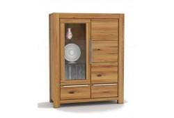 Pełny Lity Dąb - Witryna 2 szuflady i 2 drzwi