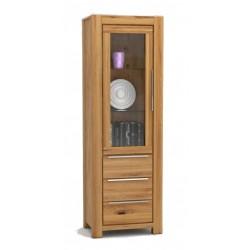 Pełny Lity Dąb - Witryna 3 szuflady i 1 drzwi - 2764