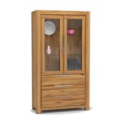 Pełny Lity Dąb - Witryna 3 szuflady i 2 drzwi - 2763