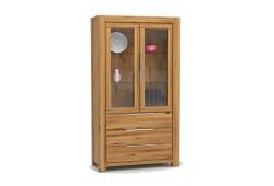 Pełny Lity Dąb - Witryna 3 szuflady i 2 drzwi